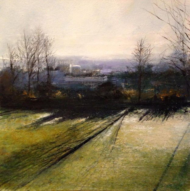 "Mill Hill East - Oil and mixed media on canvas 12 x 12"" - Painting by Rory Browne"