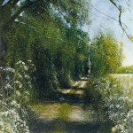 """""""The Path, Jeremiah 31:9"""" Oil on canvas, 59 x 46 inches - Painting by Rory Browne"""