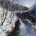 """After Gillian & Mark's: Winter the Duddon"", Mixed Media, 29 x 22 inches - Painting by Rory Browne"