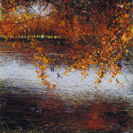 """""""Autumn Lake"""", Mixed media, 31 x 23"""" - Painting by Rory Browne"""