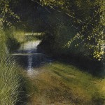 """Tranquil Stream Psalm 23"" Oil on canvas: 48 x 48"" - A painting by Rory Browne"