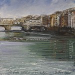 """The Ponte Vecchio - Firenze"" Mixed media 8 x 8 "" - a painting by Rory Browne"