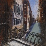 """From the bridge Venice"" Mixed media, 8 x 7"" A painting by Rory Browne"