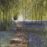 """Into the Light, bluebell path"" Mixed media. 29 x 22"" A painting by Rory Browne"