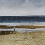 """Toby looking for crabs"" A painting by Rory J Browne"