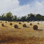 """Straw Bales. Evening sun"" A painting by Rory J Browne"