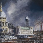 """St Pauls and green roof"" A painting by Rory J Browne"