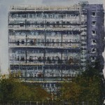 """Tracks and flats"" Mixed media A painting by Rory Browne"