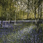 """Bluebell wood. Looking out onto the field"" A painting by Rory Browne"