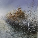 """Frost and Autumn leaves"" A painting by Rory Browne"