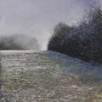 """Misty frosty morning with Toby"" A painting by Rory Browne"