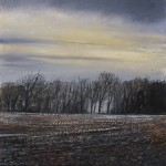 """The Lea Valley. Misty Trees"" A painting by Rory Browne"