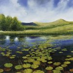 """Lily pads on Kelly Hall Tarn"" Oil on canvas. 100 x 100cm A painting by Rory Browne"