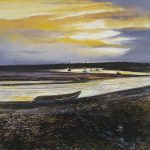 """Brancaster Staithe, evening light"" Oil on canvas. 30 x 30 cm. A painting by Rory Browne"