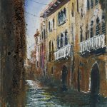 """Canal and gate, Venice"" Mixed media and shellac 23 x 19cm. A Painting by Rory Browne"