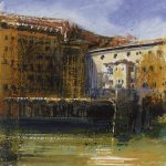 """The Ponte Vecchio"" Mixed media and shellac. 18 x 16 cm. A painting by Rory Browne"