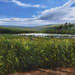 """In aid of Burundi: Lake Kavaruga"" Mixed Media. A painting by Rory Browne"