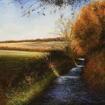 """""""Autumn Glory. Over to Luton Hoo."""" Oil. 60 x 60 cm A painting by Rory Browne"""