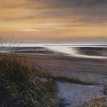 """""""Evening light and beach and footprints in the dunes."""" Oil. 91 x 91cm A painting by Rory Browne"""