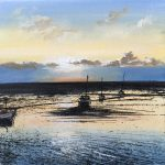 """""""Evening light and boats"""". Oil. 20 x 20 cm. A painting by Rory Browne"""