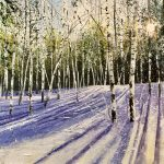 """""""Sun, silver briches and snow"""" A painting by Rory Browne"""