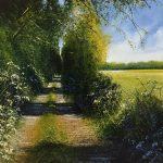 """""""Summer path and cow parsley"""". Oil. 60 x 60 cm A painting by Rory Browne"""