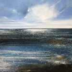 """""""Surf and rocks. Back to the sea"""". Oil. 91 x 91 cm A painting by Rory Browne"""