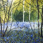 """""""Through the trees. Bluebells"""". Mixed Media. 15 x 20 cm A painting by Rory Browne"""